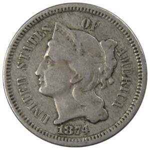 1874-Three-Cent-Piece-VG-Very-Good-Nickel-3c-US-Type-Coin-Collectible