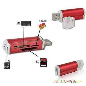 2IN1 USB 2.0 MINI MICRO SD T-Flash SDHC MS TF M2 Memory Stick Micro Card Reader