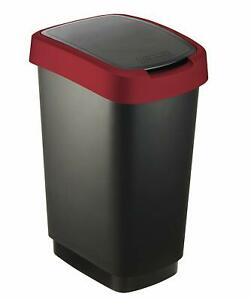 Rotho Twist Waste bin 25l can be used as swing or hinged lid Plastic black red