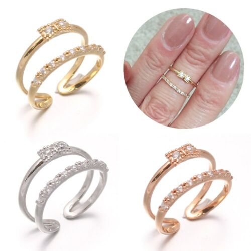 Two Lines CZ Cubic Zirconia Pave Setting Bow Ribbon Above The Knuckle Open Ring