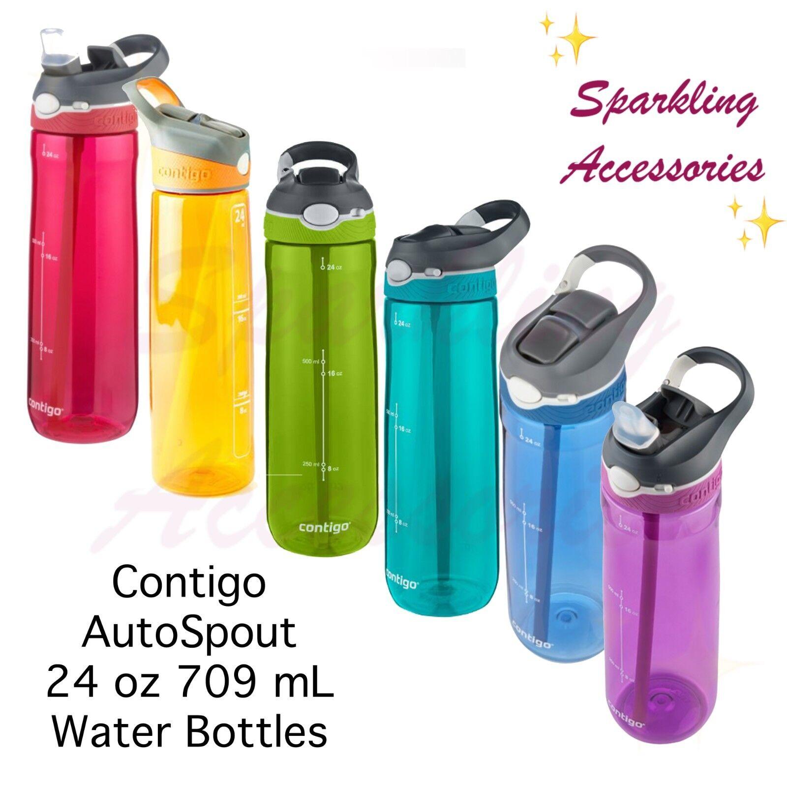 BRAND NEW 2 x Contigo Autospout Drink Water Bottle 709mL Stormy Blue Double Set!