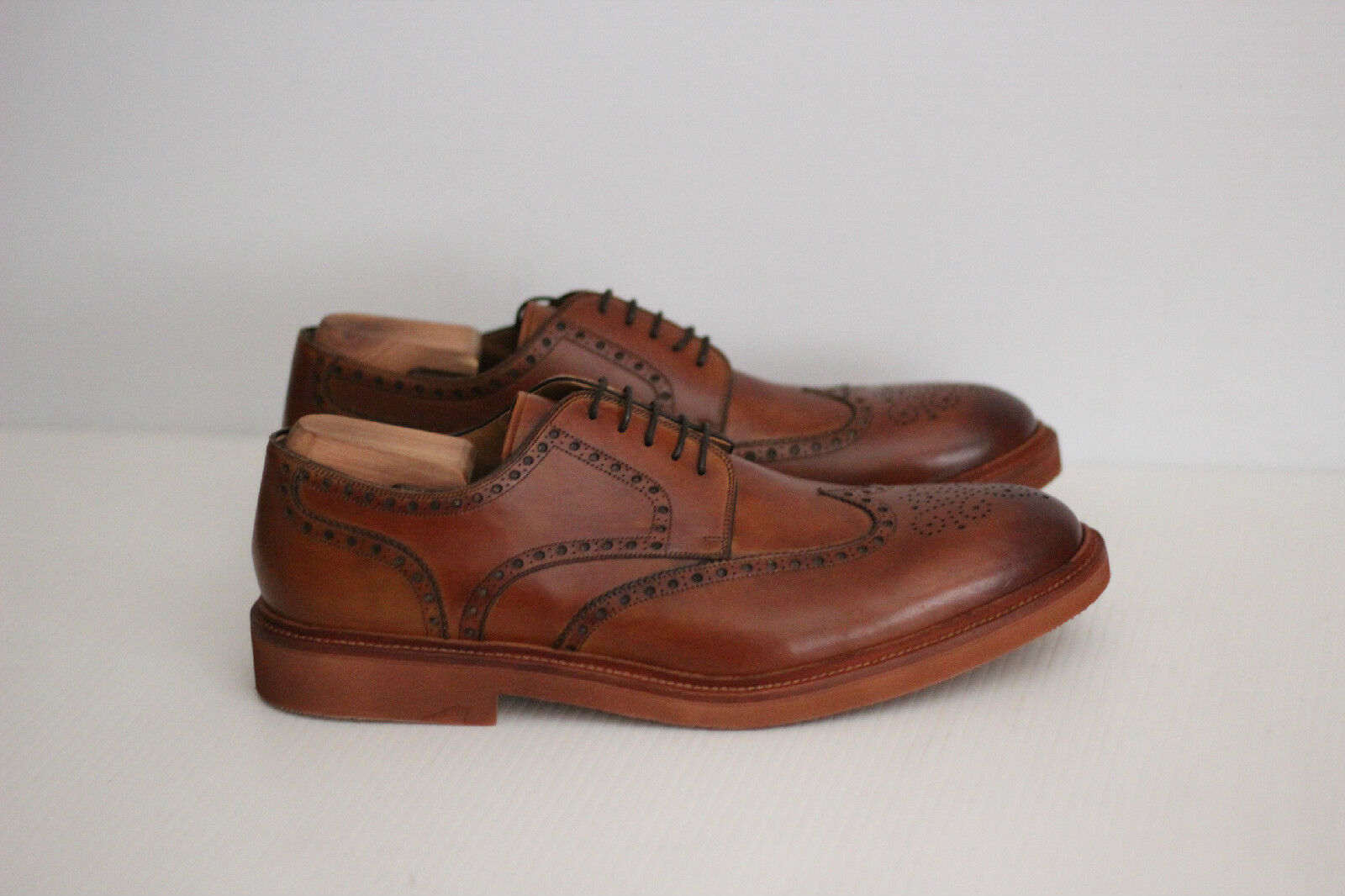 NEW Magnanni Neto Leather Lace Up Wingtip Brogue Derby - Cognac Brown 13M (X71)