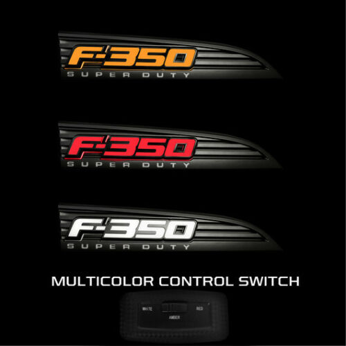 RECON Lighting Black Illuminated Emblems Side Fender Multi Color 11-16 Ford F350