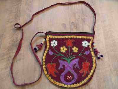 schöne bunte Umhängetasche Blumenstickerei Hippie Stil w. NEU HA1116
