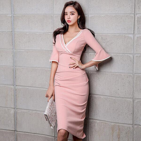 Elegante vestito abito slim slim tubino Rosa cipria leggero morbido 5079