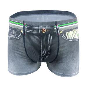 New-Men-Denim-Printing-s-Trunks-Underpants-Briefs-Shorts-Cotton-Underwear