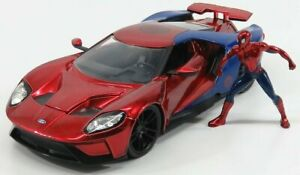 JADA 1/24 FORD USA   GT WITH SPIDERMAN FIGURE 2017   RED BLUE
