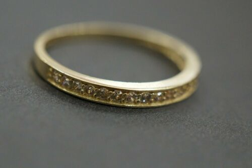Size 6.5 Real 10K Solid Yellow Gold Women Men 2MM Plain Band CZ Ring