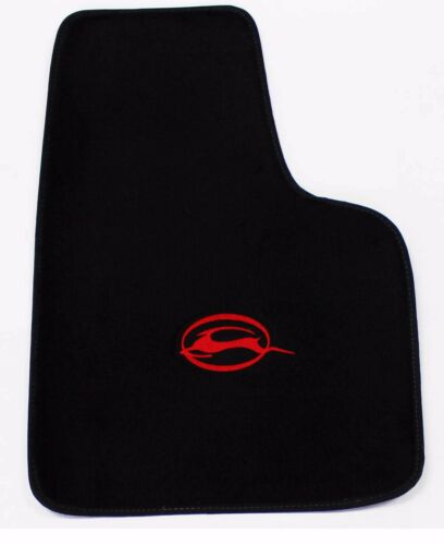 BLACK Floor Mats 2006-2014 Chevy Impala Embroidered Running Logo Red All 4 NEW