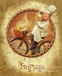 Lot of 4 Chef Prints by Shari Warren: Vin/Fromage/Les Fruits/Boulangerie Framed