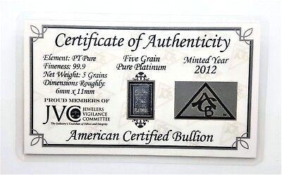 PURE Platinum BENCHMARK approx 1//3 gram .999.5 fine Bullion Bar  in cert card