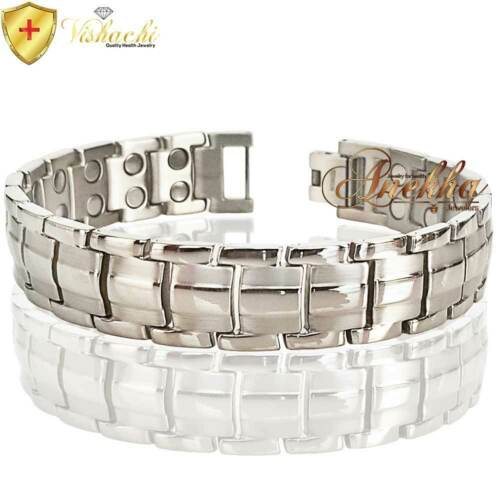 MAX THERAPY PURE TITANIUM 42 MAG 5000G MAGNETIC THERAPY BRACELET MEN SILVER T03S