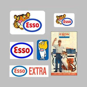 6 ESSO EXXON DECALS STICKERS LOGO AD GAS TIGER | eBay