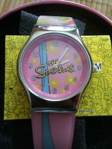 034-The-Simpsons-034-Watch-Pink-Simpsons-Themed-Strap-Japan-Movement