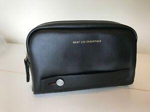 Details about WANT LES ESSENTIELS black vinyl travel pouch essential clutch bag for Air Canada