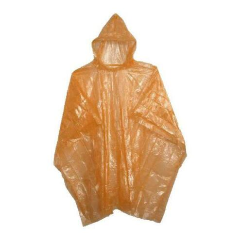 Adult Rain Poncho Orange Waterproof Plastic Disposable Rain Hat Hood Ladies Mens
