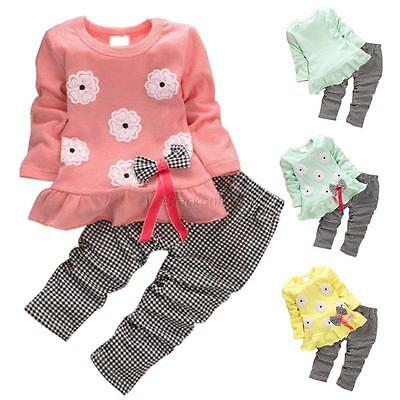 New Baby Girls Flower Bow 2PCS Clothes Set Outfits Long Sleeve Tops+ Plaid Pants