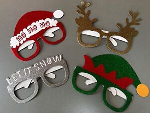 Novelty-Glittery-Christmas-Glasses-4-Pack-Selfie-Photo-Prop-Table-Decorations