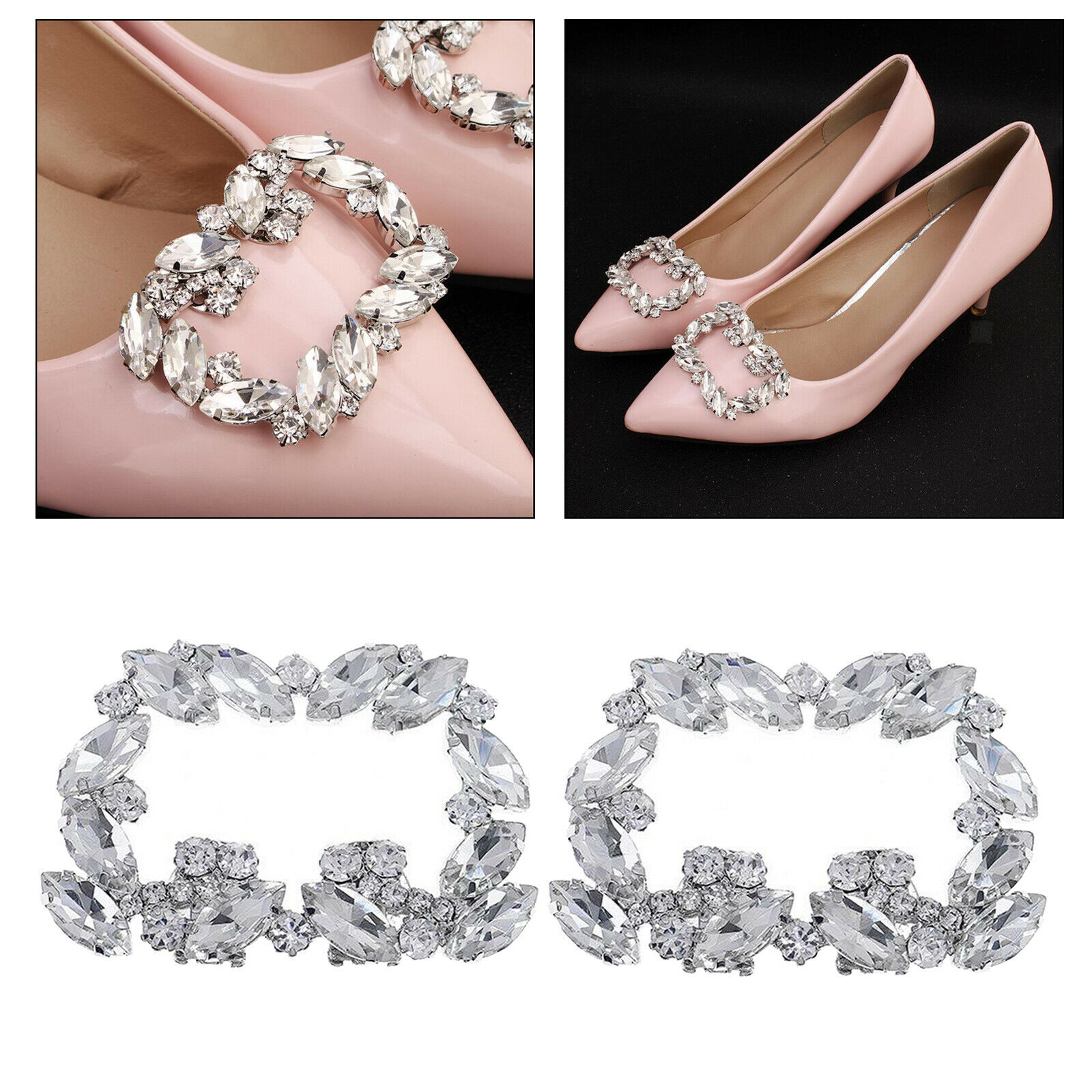 Crystal Shoe Clips Lady Decorative Shoes Square Buckle Clips Prom Shoe Charms