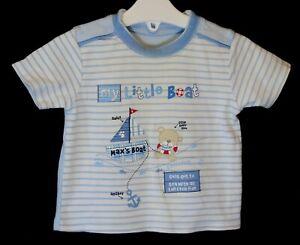 30a7727b5 Baby Boys George Blue White Stripe Bear Sailing Boat Tee T-Shirt Age ...