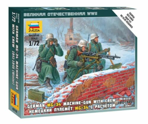 German  Machine Gun With Crew Plastic Kit 1:72 Model ZVEZDA