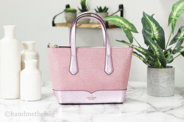 Kate Spade Lola Small Leather Rose Pink Glitter Satchel Handbag Tote Purse