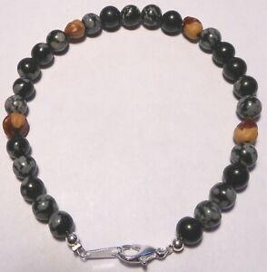 Navajo-Ghost-Cedar-Bead-Juniper-Berry-amp-Snowflake-Obsidian-Beads-Bracelet