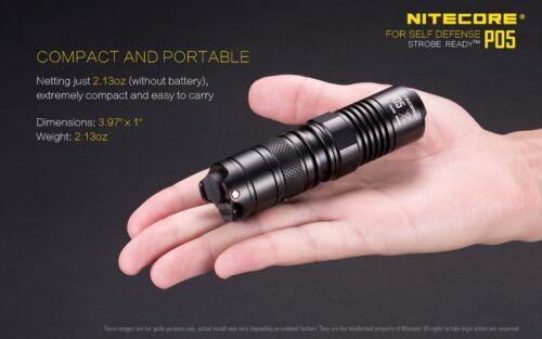 Nitecore P05 460 Lumen LED Flashlight BLACK w//2x FREE Premium CR123A Batteries