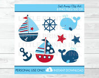 Nautical Sailboat Whale Clipart