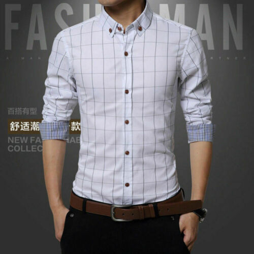 NEW Mens Casual Shirts Business Dress Plaid T-shirt Long Sleeve Slim Fit Tops CL