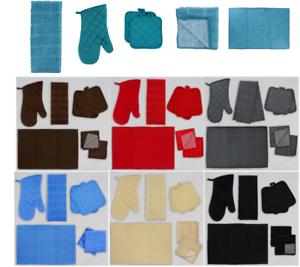 Details about 7-PC Kitchen Linen Set--Oven Mitt Pot holders Kitchen Towels  Drying Mat Scrubber
