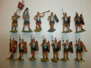 1-Konvolut-13-alte-Elastolin-Kunststoff-Figuren-Roemer-zu-4cm
