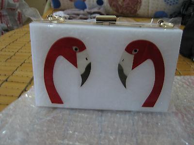 New Swan Head Acrylic White Color Women Clutch Bag Handbag Ring Evening Bag