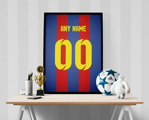 FC Barcelona Jersey Poster - Personalized Name & Number FREE US SHIPPING