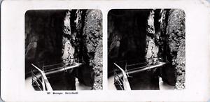 Stéréo, Suisse, Meiringen, Aareschlucht Vintage stereo card  Tirage argentique