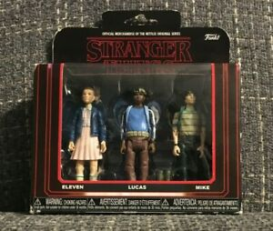 Netflix Stranger Things Funko Collectible Action 3 Figure Set Eleven Lucas Mike
