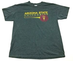 Arizona State University Gray T Shirt Size L Large Adult Short Sleeve Baggy Mens