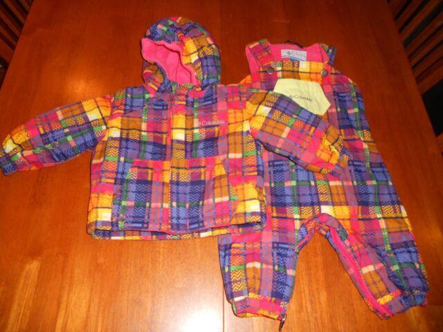 $113 NWT 6 Month 6M Girls Columbia Santa Peak SET PINK WHT 2-pc Snow Suit bib
