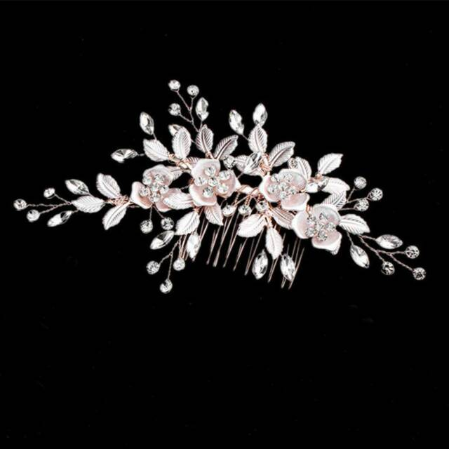 Rose Gold Crystal Flower Hair Comb Clip Pearl Hairpin Bridal Hair Jewelry