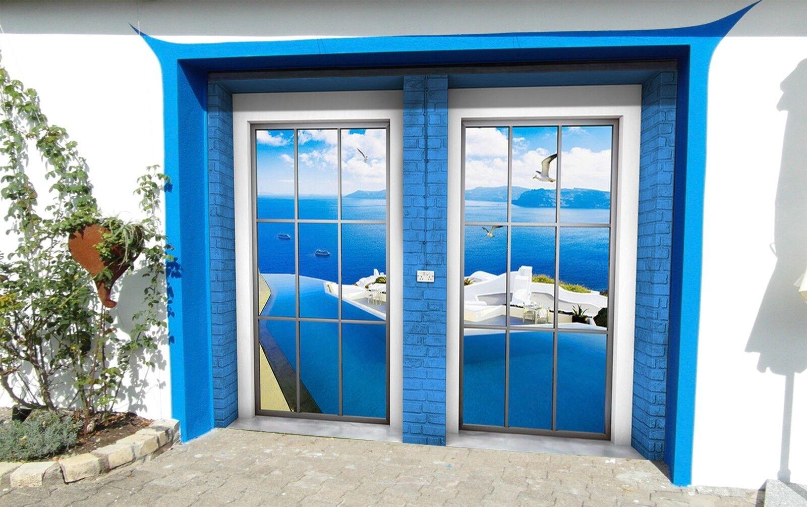 3D Blau ocean  Garage Door Murals Wall Print Decal Wall Deco AJ WALLPAPER AU