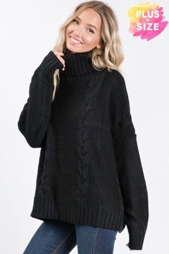 New PLUS SIZE Womens SOLID BLACK NOELLE TURTLE NECK CABLE KNIT SWEATER 1X 2X 3X