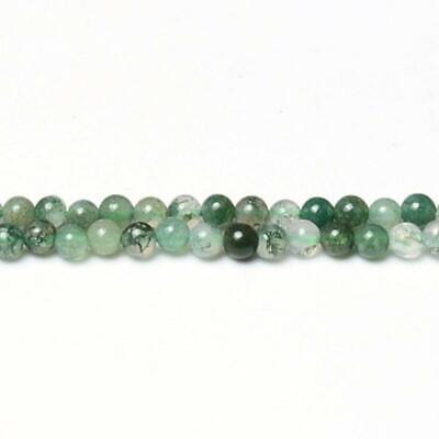 Tree Agate Round Beads 8mm White//Green 45 Pcs Gemstones Jewellery Making Crafts
