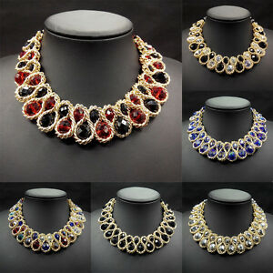 Mujer-A-La-Moda-Collar-Babero-Colgante-Con-Cadena-Collar-Gargantillas-Grueso