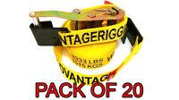 Heavy Duty Ratchet Strap Tiedown 27'x2 Flat Hook 10k Break Strength 20 Pack