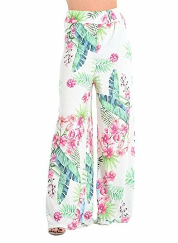 WOMENS LADIES FLORAL TROPICAL LEAF PRINT PALAZZO TROUSERS HIGH WAIST PANTS 8-22