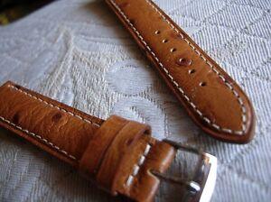 """Romantisch 24 Mm Armband Kalb Echt Stil Vogelstrauß """"miel"""" Weiße Naht Handarbeit Zubehör Uhren & Schmuck"""