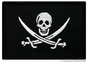 PIRATE-FLAG-iron-on-PATCH-JOLLY-ROGER-Skull-Swords-EMBROIDERED-Calico-Jack-NEW