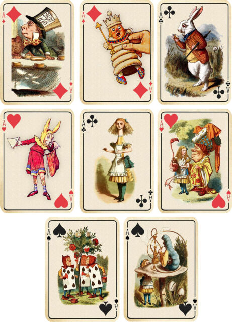 Vintage inspired of Alice in Wonderland in cups small cards tags ATC s//8