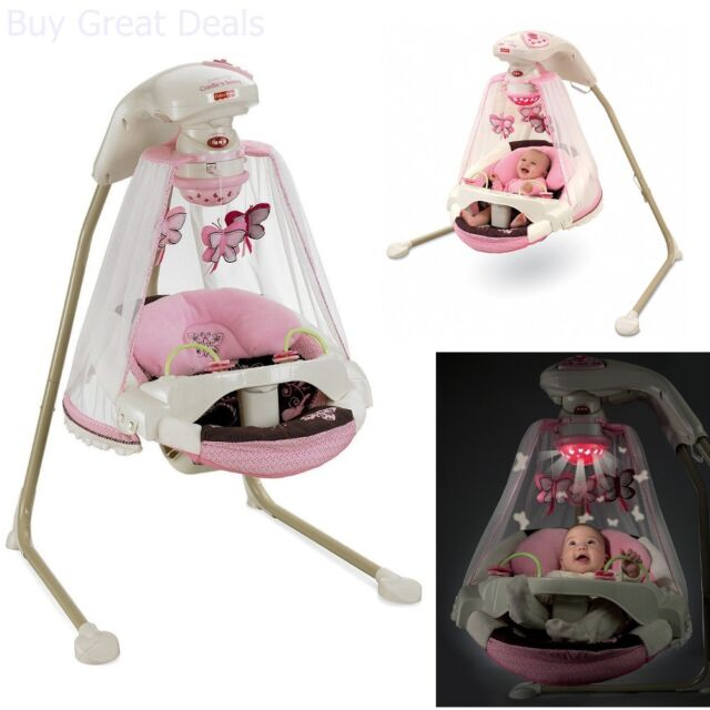 Baby Cradle Swing Infant Fabric Seat 16 Songs Feeding Tray Mocha Butterfly Girls