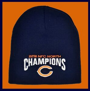 Chicago Bears Winter Hat 2018 Nfc North Champions Navy Blue Beanie